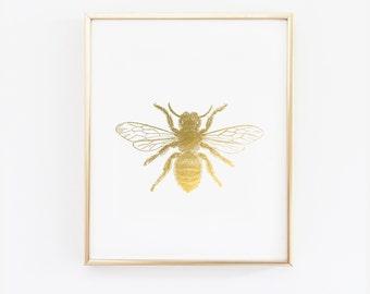 Bee wall art, Bee Print Faux Gold Foil Wall Art  - 4x6,  5x7, 8x10, 11x14, 12x16, 13x19  - Nursery Print - Printed Gold foil (1190)