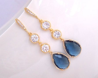 Wedding Jewelry, Cubic Zirconia and Navy Blue, CZ and Montana Blue Earrings,Gold, Bridesmaids Jewelry,Wedding Gifts , Gifts,Drop,Dangle,Long