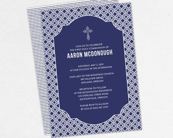 First Communion Invitation, First Holy Communion Invitation, Religious, Printed, PDF, DIY Communion Invitation, Boy Invitation, Navy, Aaron