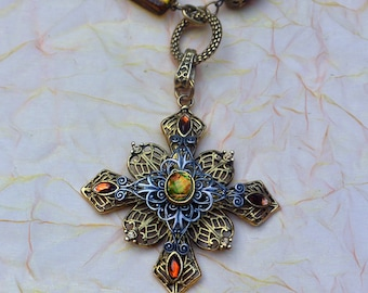 Chico Cross Necklace - Glass Beads, Silver & Gold Open Work - Free US Shipping - Vintage - Fabulous!