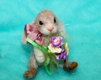 OOAK /Needle Felted/ Miniature/ bunny /rabbit /hare/  Easter /handmade gift