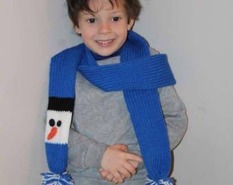 Blue Snowman Scarf