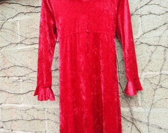 Cute 1990s / 90s Bright Red Crushed Velvet Empire Waist Grunge Goth Cool Bell Sleeve Tie Waist Party Dress