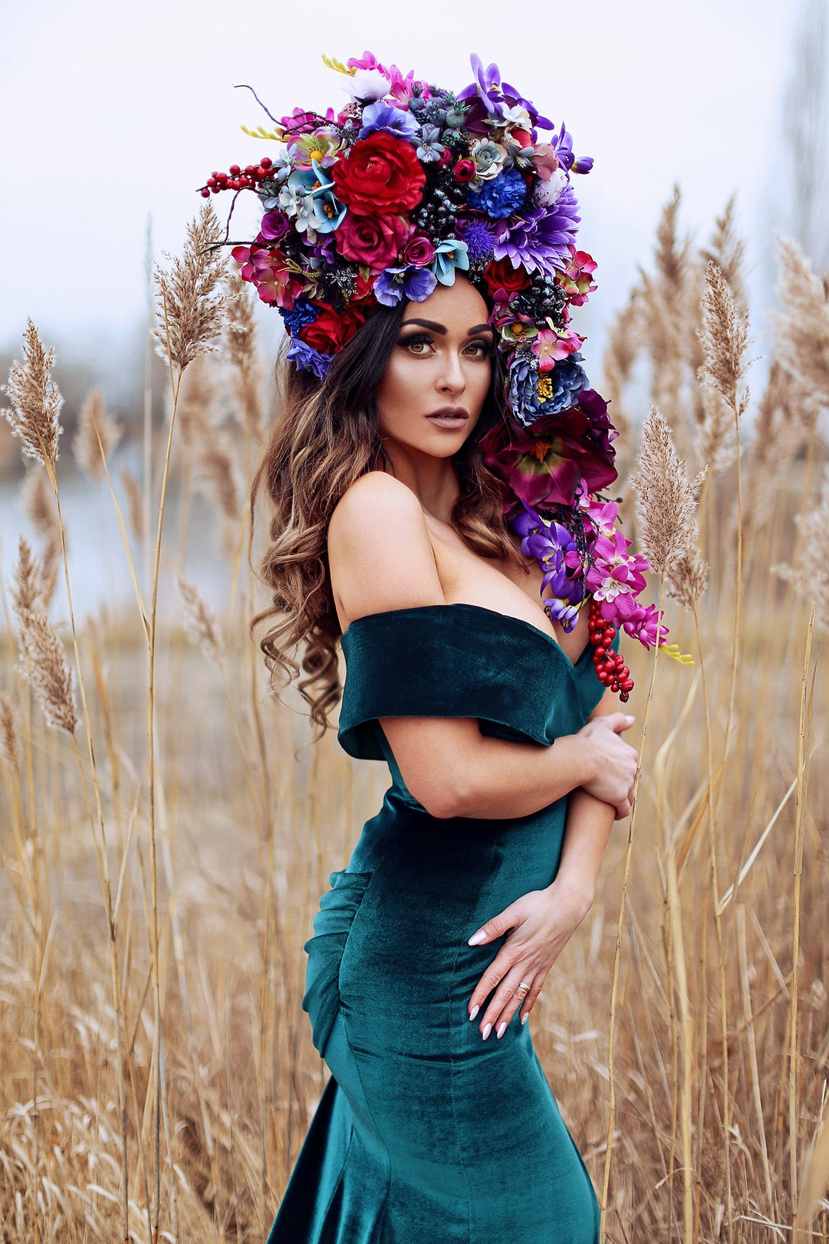 Huge romantic fairy flower crown with red and purple flowers zoom izmirmasajfo