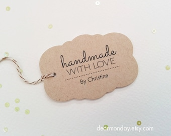 Handmade With Love Favor Tags - Kraft packaging tags - Customized Etsy shop tags - Product hang tags - Hang tags for crafters - (TM02)