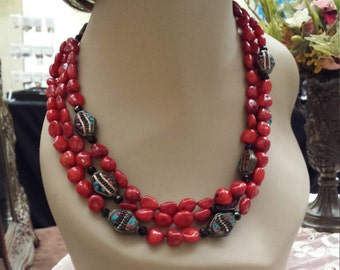 three strand coral necklace with contrast beads