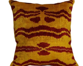 16x16 Velvet ikat pillow cover, Velvet cushion, Decorative Velvet Silk Pillow, Throw Velvet Pillow