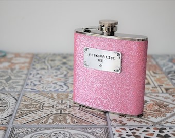 Personalised GLITTER HIP FLASK - pink
