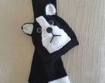 Boston Terrier Hat and Scarf Set