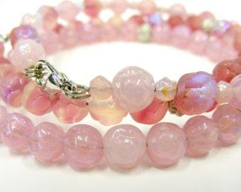 Pretty Pink Rosebud Trio Bracelet (Set)