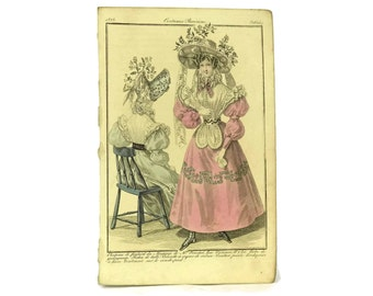 Antique Fashion Illustration. 1828 French Engraving. Fashion Plate from Costumes Parisiens. Ready To Frame Art. Fashionista Gift.