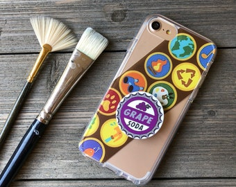 Wilderness Scout Badges Phone Case with Pop Up Grip and Stand for iPhone 6, 6 Plus, 7, 7Plus, 8, 8 Plus and X