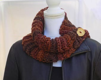 Cowl scarf - crochet cowl - chunky cowl - bulky cowl - infinity scarf - neck warmer - circle scarf - womens cowl - button cowl - collar