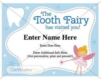 Tooth Fairy Certificate, kid certificate, award, child certificate, tooth fairy, childrens gift, lost tooth, dentist certificate, boy cert