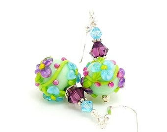 Green Purple Earrings, Floral Earrings, Lampwork Earrings, Glass Earrings, Glass Bead Earrings, Flower Earrings, Pastel Earrings