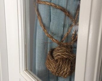 Nautical Tiebacks, 2 Nautical Rope Tie backs, Nautical Home Decor, Handmade - Curtain Tie back, Rope Tiebacks, Brown Curtain Tiebacks
