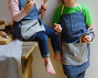 organic cotton children's apron. little kid apron. adjustable. indigo denim. modern kids apron. sustainable. hemp.