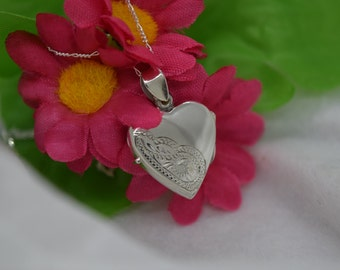 Sterling Silver Flat Heart Locket with Design Includes Chain