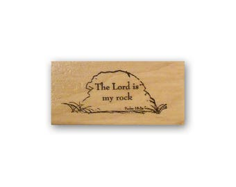 The Lord is my rock - mounted rubber stamp, Christian bible verse, scripture, Psalm 18:2, religious, Crazy Mountain Stamps #3