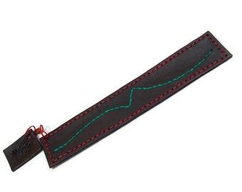Bookmark, leather bookmark, brown bookmark, embroidered bookmark, dark brown bookmark