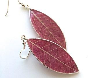 Pink Paper Earrings, Modern Pink Paper Earrings, Pink Leaf Earrings, Mulberry Pink Earrings, Modern Paper Earrings, 1st Anniversary Earrings