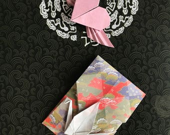 Valentines gift/Valentine's day gift/Origami valentine's Day gift/unique valentine's day gift/crane envelope and heart/unique gift/Origami