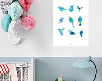Plakat-Vögel, Vogel-Plakat, Kinder Zimmer Kunst, A3 Print-Illustration Aquarell