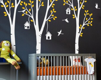 """Baby Nursery Wall Decals - Birdhouse Trees Decal - Tree Wall Decal - Tree Wall Decals - Tree Wall Decal with Deer - Large: 96"""" x 93"""" - KC021"""