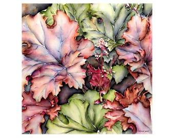 Heuchera red - fine art 40 x 40 cm, numbered and signed. Made from my watercolor