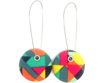 Rainbow Fragment Geometric Covered Button Drop Earrings - Surgical Steel Wires - Free Worldwide Shipping