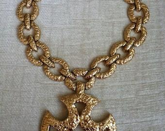 Large Hammered Cast Gold Maltese Cross Vintage MONET Runway Necklace