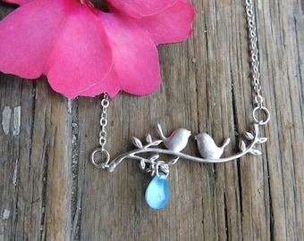 Lovebirds Necklace with Blue Sky Drop Bead Love Birds on Branch Twig Jewelry Gift
