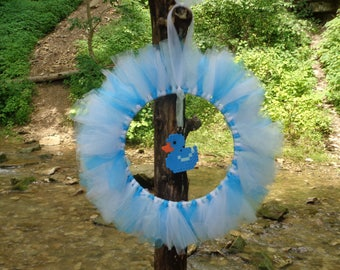 Blue, Baby Blue and White Tulle Wreath