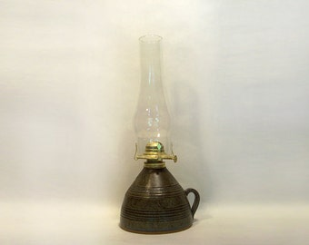 Oil Lamp with glass chimney and wick adjuster, in Blue and Brown variegated glaze, 19 x 6 inches