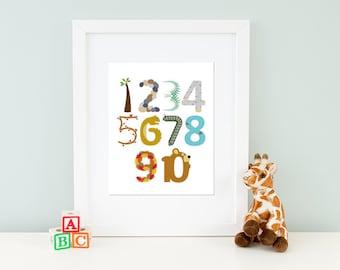 Woodland Numbers Art Print, Children's or Nursery Artwork