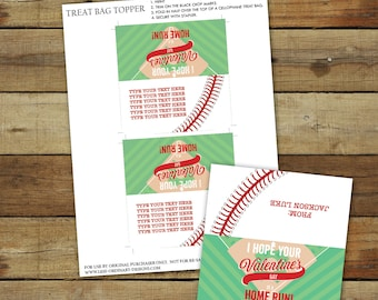Baseball Valentine's Day treat bag topper, printable baseball valentine treat, editable pdf, instant download