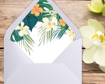 A7 Envelope Liner, Euro Flap, Tropical Wedding, Envelope liner, printable envelope, printable liner, liner template, diy printable, liners