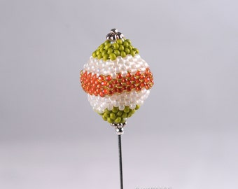 Orange Green Beaded Stick Pin, Pin, 3 Inch Pin, Hat Pin, Lapel Pin, Hijab Pin KC0450