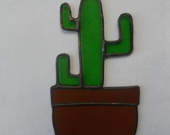Stained Glass Cactus Suncatcher