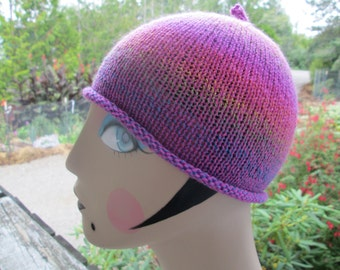 Girl's Purple and Pink Skull Cap Knitted by SuzannesStitches, Teen Purple Beanie, Baby Girl Pink Beanie, Girl's Light Weight Summer Hat
