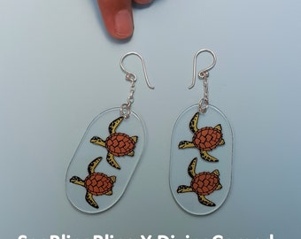 Sterling Silver Earrings, Sterling Silver Dangle Earrings, Silver Earrings, Turtle Earring, Quirky Earrings, Seablingbling x TheDivingComedy
