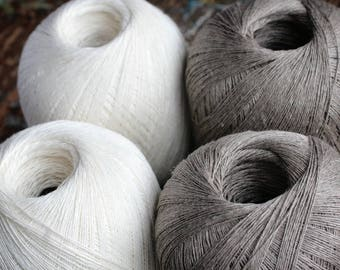 Linen yarn thread -- one ball -- natural or white -- 3-ply
