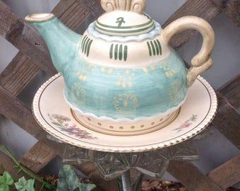 Vintage Teapot Garden Stake - Ceramic Glass Yard Art - Whimsy Garden Decor