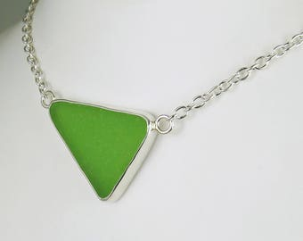 Lime Green Sea Glass Bezel Pendant Necklace Maine