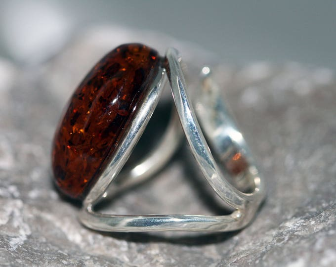 Statement Baltic Amber Ring fitted in sterling silver setting. Handmade & unique.