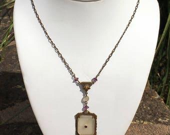 Antique Camphor Glass Necklace Vintage Victorian Art Nouveau Amethyst Crystal Czech Glass Jewelry Elise Pittelman