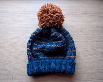 Knit Beanie in Navy Blue and Brown // Winter Hat
