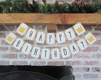 HAPPY BIRTHDAY Banner, Where the Wild Things Are, Sign, First