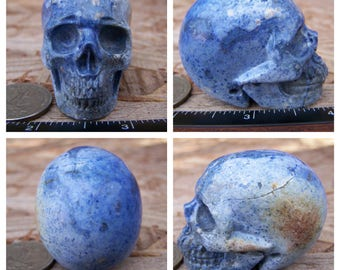 "2.01"" 3.5oz 100.6g Dumortierite Skull Realistic Crystal Healing Magick Metaphysical Mystic Reiki Wicca Large Blue 2 inch SK2170"