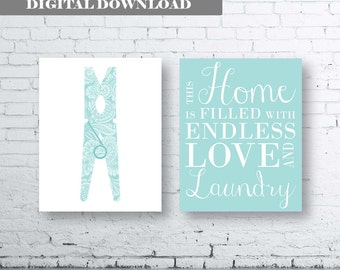 Laundry Wall Art Print. Set of Two (2)-Instant Download. Peg Wall Art. Clothes Pin. Aqua Laundry Printable Art. Laundry Quote Wall Art.
